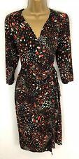M&S Per Una Dress Black Orange Spot Faux Wrap Jersey Stretch 3/4 Sleeve Size 14