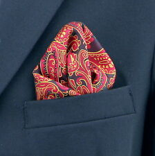 Red Gold & Black Paisley Men's Suit Pocket Square Handkerchief Hanky New