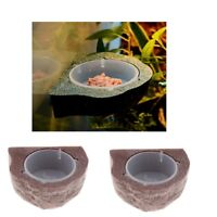 2Pc Magnetic Feeding Ledge For Gecko Diet, Food or Water & Plastic Cup Bowl