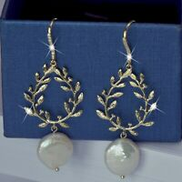 18k yellow gold gf made with swarovski crystal freshwater pearl hook earrings