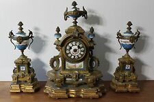 French Porcelain And Gilt Bronze Clock Set Garniture Late 19Th C