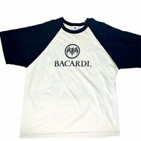 Bacardi Men's XL Raglan T-Shirt Black White Bat Logo Vtg 90s Double-sided