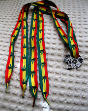 Rasta Red Yellow Green Stripes MJ Weed Marijuana Leaves Punk Shoe Laces-New!