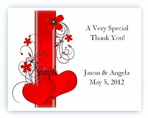 100 Custom Personalized Red Hearts Wedding Bridal Thank You Cards