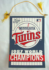 "1987 MINNESOTA TWINS WORLD CHAMPS RECTANGULAR 10x15"" PENNANT BANNER W/ GOLD LACE"