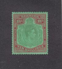 BERMUDA 1938-53 KGVI 10/- Bluish-green & Deep Red Chalk Paper SG 119a ₤225, mint