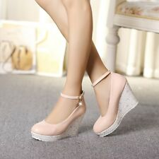 Womens Lady Platform Wedge Heel Faux Leather Court WEdding Shoes Pump Rhinestone
