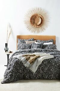 New Anthropologie Home Queen Textured Hand Quilted Thora black white