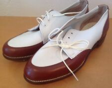 Nos Vintage Hyde Ladies Golf Saddle Shoes Brown White Leather Size 7.5 A44 New