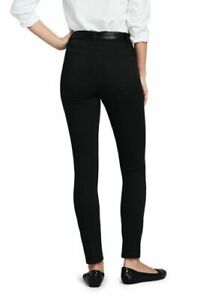 Lands' End High Rise Slim Straight Leg Ankle Twill Jeans Dp Black 6 NEW 504513