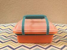 Tupperware Pack n Carry Kids Mini Lunchbox Orange w/ Clear Seal Teal Handle New