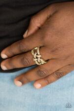 Paparazzi Jewelry golden topaz rhinestones, brass bars flex Ring