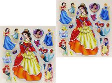 New 3D Scrapbooking Disney Characters Princess Ariel The Mermaid, Belle Stickers