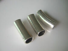 5 x Tibetan Silver Tone Curved Tube Spacer Beads 8x6mm Hole For Bracelet Making