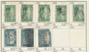 Canada: 3 #176 and 5 #244. All used and hinge-mounted on a approval sheet