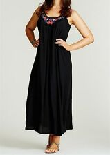 Stunning Black Ladies Embroidered Trapeze  MAXI DRESS Size 8-12