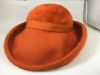 Vintage Fuzzy Women's  Orange Hat 1970s Style Glamour Wide Rimmed Hat Small
