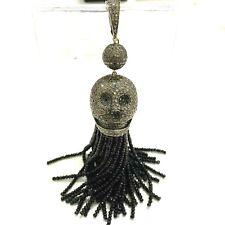 Indian and Black Diamond Skull Sterling Silver Tassel Pendant Charm