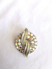 Vintage Coro Brilliant Aurora Borealis Rhinestone Wreath Pin Brooch