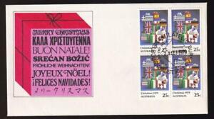 Australia FDC 1979 sc#720 Christmas 25¢ block of 4