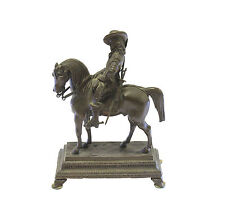 French Bronze Art Statue Figure Man Riding Horse Antique Sword Holster