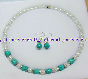8-10mm White Akoya Shell Pearl & Blue Turquoise Beads Necklace Earrings Set Z665