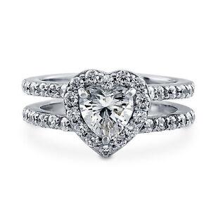 1.76 Ct Heart Shape Diamond Engagement Ring 18K White Gold Wedding Band Size M N