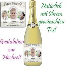 *1 x Flaschenetikett /Aufkleber zur Hochzeit/Taufe TRAUFE *GLÄNZEND! Mit Fotos!