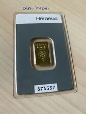 Goldbarren 5g Kinebar HERAEUS Feingold 999.9 Anlagegold 5 Gramm mit Zertifikat