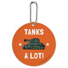 Tanks A Lot Thanks Funny Humor Round Luggage ID Tag Card Suitcase Carry-On