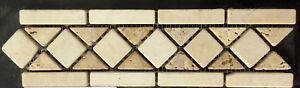 TUMBLED MARBLE Floor Or Wall Mesh Mounted Mosaic 8 X 30cm £5 Each Pack Of Fiftee