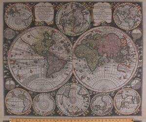 """36"""" X 44"""" Panel Maps Travel Vintage Blueprints Tan Cotton Fabric Panel D480.36"""