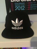 ADIDAS Men's Originals Snapback Flatbrim Cap Hat Trefoil Logo Black White NEW!