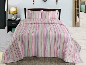 COTTON BEDSPREAD SUPER SOFT QUILTED GENOA PINK