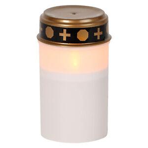 LED Grablicht weiß Kerze flackernd Leuchte Laterne mit Timer 12x7cm Deckel gold