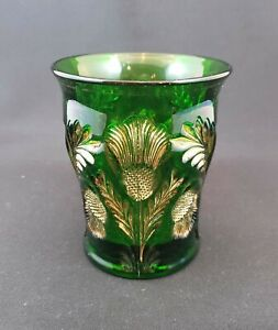 Mosser Thistle Pattern Tumbler - Dark Emerald Gold Trim