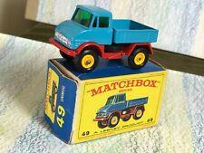 Matchbox Moko Lesney # 49b Mercedes Unimog MinVGB 4BPW blue red base