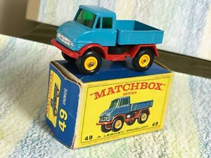 Matchbox Moko Lesney # 49b Mercedes Unimog MinVGB 4BPW blue red base