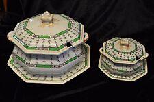 Keeling & Co Losol Ware Pompadour patrón de 5407 Verde 2 placas y con tapa