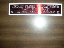 JACQUES PLANTE (CANADIENS)  NAMEPLATE FOR SIGNED PUCK DISPLAY/JERSEY CASE