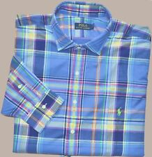 New 2XB 2XL BIG 2X POLO RALPH LAUREN Mens button up down dress shirt blue checks