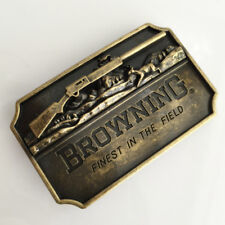BROWNING Finest in the field Belt Buckle Antique Bronze color Hunting Fishing