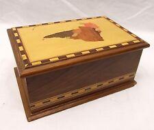 Vtg Inlaid Wood Cigarette Dispenser Box Brazilian Inlay Brazil Folding Machado