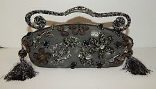 Mary Frances Metallic Beaded Floral Jeweled Satchel Bag
