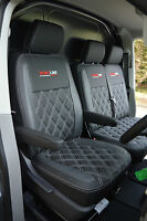 Volkswagen VW Transporter T6 Van Seat Covers - Black & Grey With Diamond Quilted