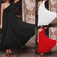 Womens Formal One Shoulder Evening Party Ball Prom Gown Long Cocktail Maxi Dress