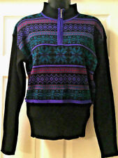 Vintage Demetre Womens Ski Sweater Acrylic Wool Blend Black Purple Teal Sz S