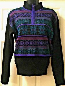 Vintage Demetre Womens Ski Sweater Acrylic Wool Blend Black Purple Teal Sz S