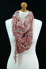 Handmade front drape pink blend loose knit circle scarf in a soft cotton blend.