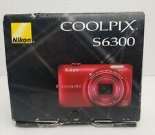 Full HD Nikon COOLPIX S6300 16.0MP Digital Camera w/ 2Batt/Wall&Car Chgr AV Cord